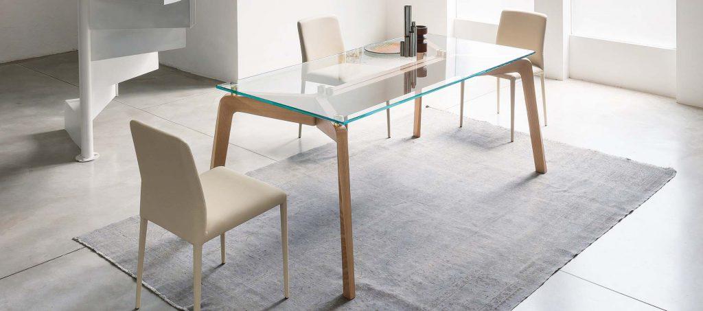 Table Riflessi design en verre, modèle Glide