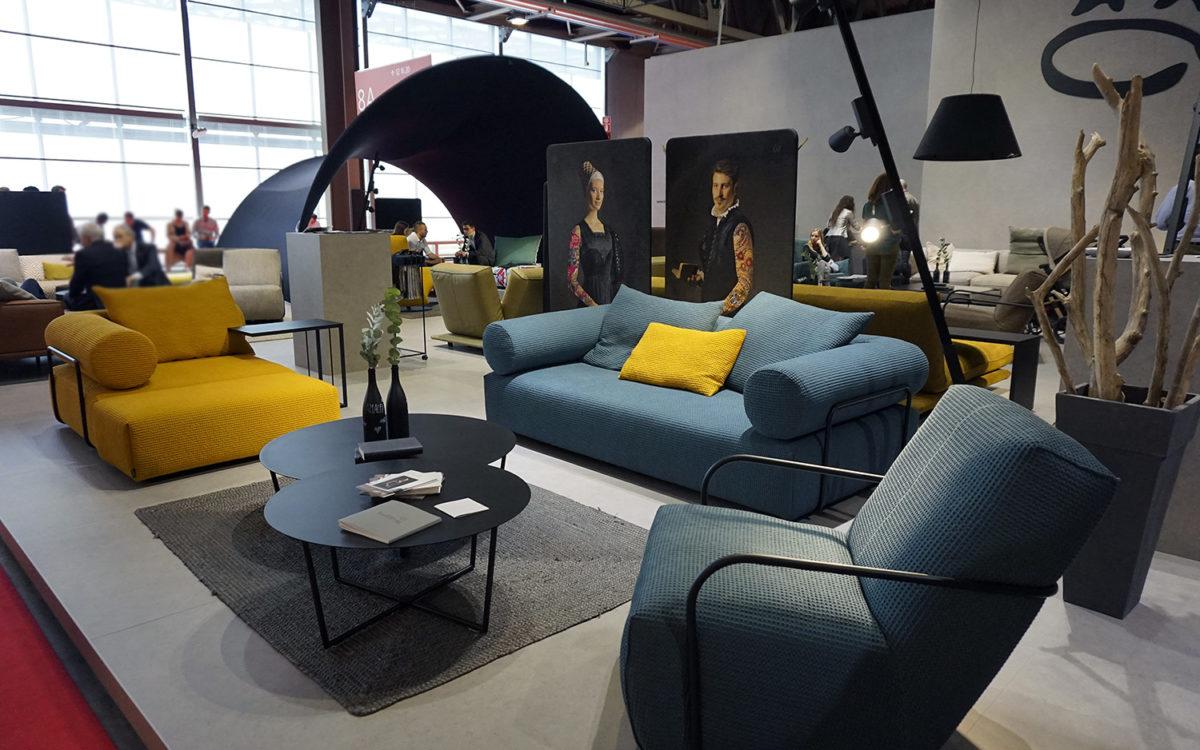 canapé sofa et fauteuil bleu Bullfrog