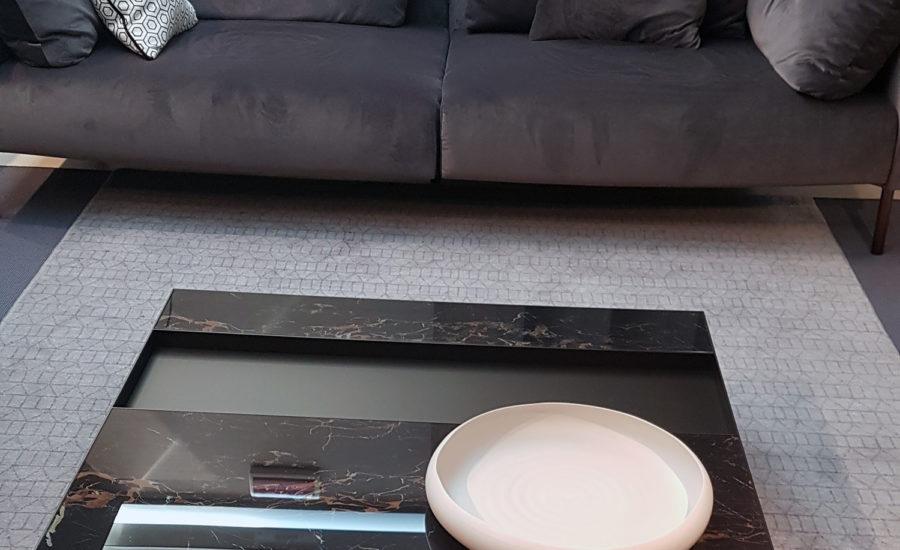 Canapé deux places tissus en velours gris