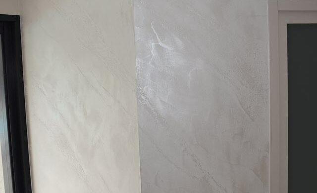 salon peinture enduit design marbre blanc