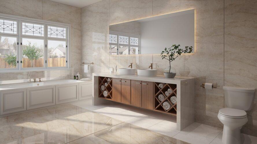 Salle de bain en Dekton Stonika Arga