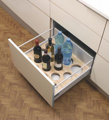 range bouteilles de tiroir en bois