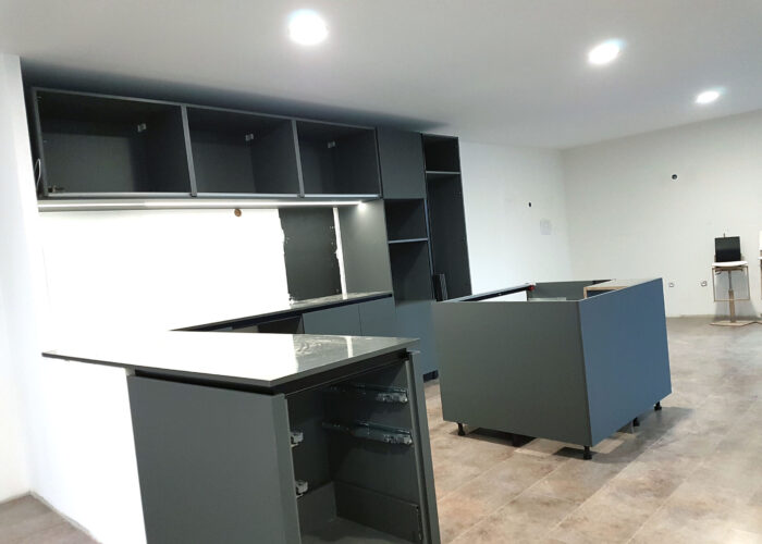 CUisine du showroom en construction